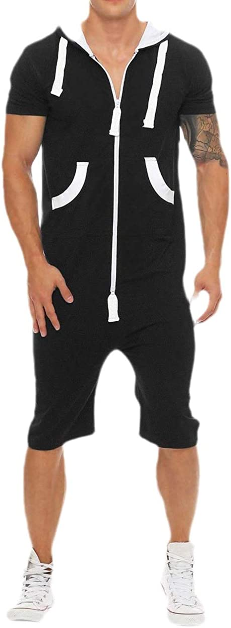 dahuo Men Comfort One Piece Camouflage Non Footed Pajama Hooded Romper Jumpsuit
