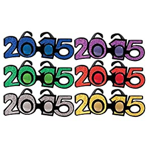 Beistle 50661-15 2015 Assorted Glittered Plastic Eyeglasses, Pack of 1