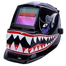 Z ZTDM Welding Helmet Pro Solar Auto Darkening Shark Mouth Skull Hood Adjustable Shade Range 4/9-13 Weld/Grinding Welder Protective Gear Arc Mig Tig CE EN379 ANSI Z87.1