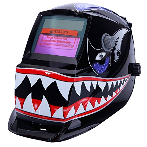 Z ZTDM Welding Helmet Pro Solar Auto Darkening Shark Mouth Skull Hood,Adjustable Shade Range 4/9-13 Weld/Grinding Welder Protective Gear Arc Mig Tig,CE EN379 ANSI Z87.1