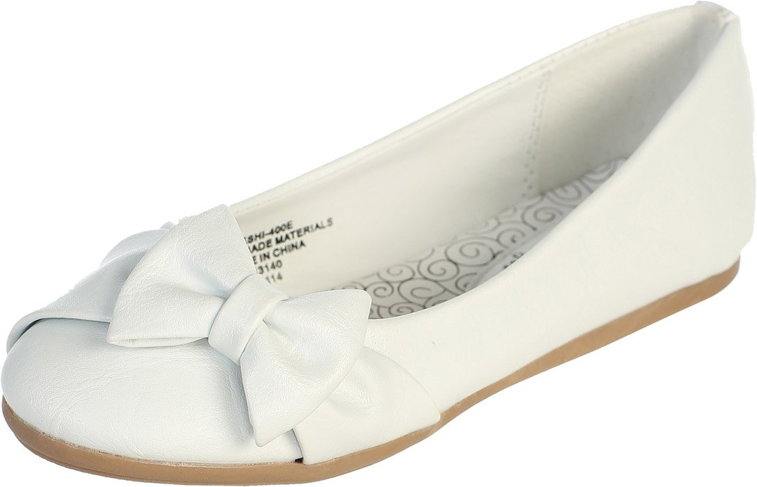 White Girl's Flat Shoes with Side Bow Girl 2