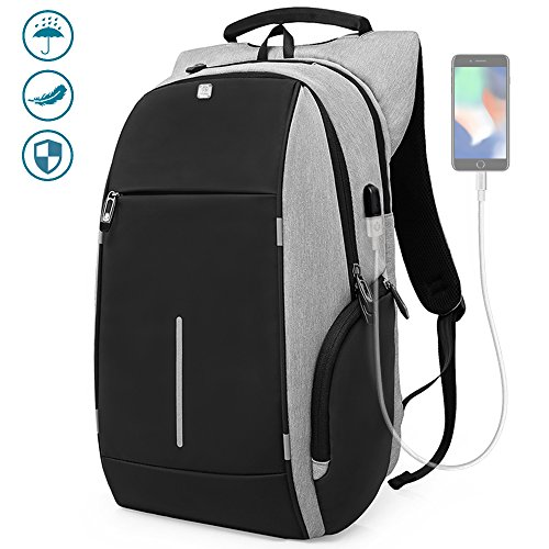 Light Grey Laptop (Business Laptop Backpack, HiOrange Anti Theft Computer Bag with USB Charging Port, Night Light Reflective Waterproof College Bag, High-capacity Travel Shoulder Bag Fits 15.6