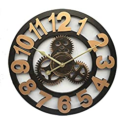 Handmade Oversized 3D Retro Rustic Decorative Luxury Art Big Gear Wooden Vintage Large Wall Clock on The Wall for Gift 20 inche,Arabic Golden,40cm