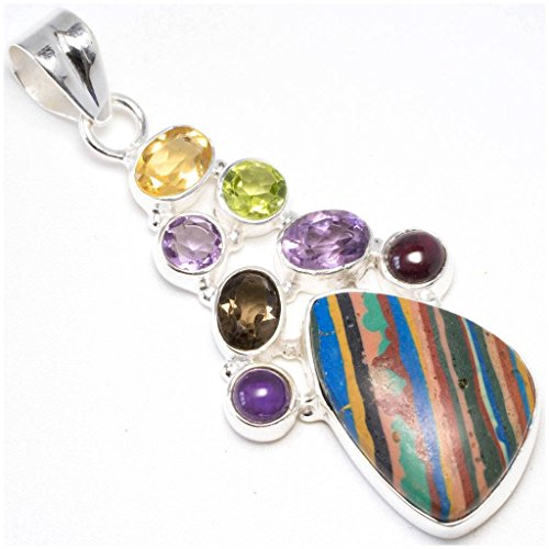 Calsilica, Amethyst, Peridot, Smoky Quartz and Citrine 925 Sterling Silver Pendant 2 1/4