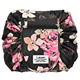 NiceEbag Drawstring Cosmetic Bag Lazy Travel Makeup Bag Floral Make Up Storage Organizer Cute Magic Toiletry Pouch for Women Girls,Large/Waterproof/Portable/Fashion/Flat-Open/Quick Pack,Black Peony