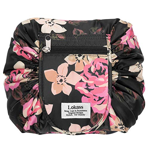 Drawstring Cosmetic Bag Lazy Travel Makeup Bag Floral Make Up Storage Organizer Cute Magic Toiletry Pouch for Women,Portable/Large/Waterproof/Flat-Open/Quick Pack/Fashion Pattern,Black Peony