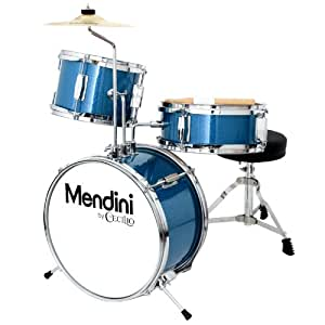 Mendini by Cecilio 13 Inch 3-Piece Kids/Junior Drum Set with Adjustable Throne, Cymbal, Pedal & Drumsticks, Metallic Blue, MJDS-1-BL
