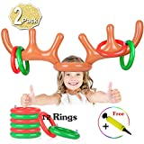 2 Set Inflatable Reindeer Antler Game, (2 Inflatable Antler, 12 Rings Reindeer Ring Toss) Inflatable Reindeer Antler Hat with Rings, Family Christmas Party Games