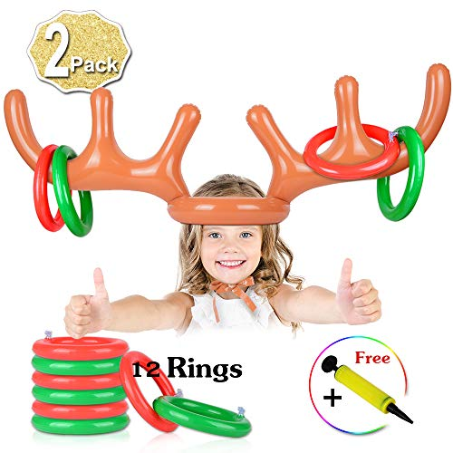 2 Set Inflatable Reindeer Antler Game, (2 Inflatable Antler, 12 Rings Reindeer Ring Toss) Inflatable Reindeer Antler Hat with Rings, Family Christmas Party Games]()
