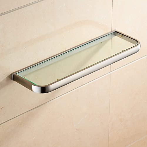 BATHSIR Brass Tempered Glass Bathroom Shelf,Wall Mounted Thick Shower Storage Brushed Nickel No Sharp Edge