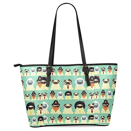 InterestPrint Cute Pug Puppy Dog Women's Leather Tote Shoulder Bags Handbags - Puppy Dog Handbag Purse Accessory