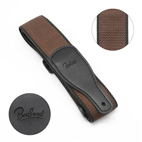 Guitar Strap 100/% Soft Cotton /& Genuine Leather Ends Guitar Shoulder Strap With Guitar Strap Lock and Button Headstock Adaptor Coffee