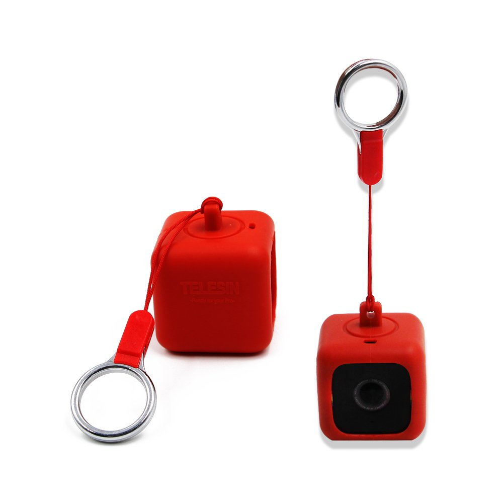 TELESIN Bumper Pendent Case for Polaroid CUBE, CUBE+ Action Lifestyle Cameras with Necklace Lanyard and Removeable Clip (Blue) PR-CSC-001