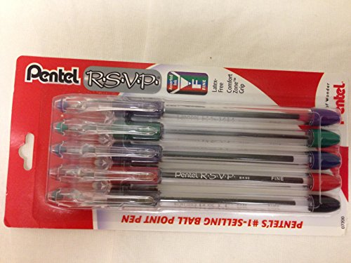2 PACKAGES - Pentel RSVP Ball Point Pens Assorted Ink 5 Pens Per Package (Fine Pentel Point Rsvp)