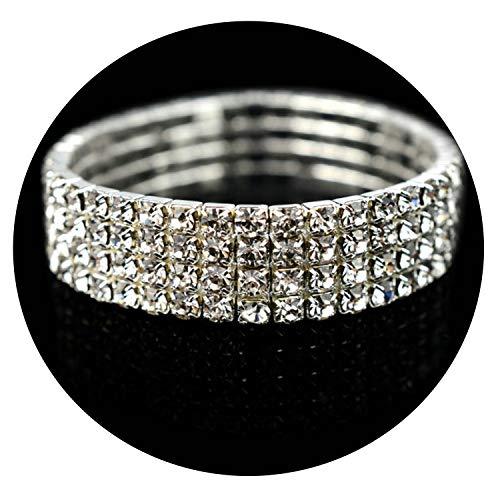 Fashion Crystal Stretch Shine Bracelets For Women couple Girlfriend Bangles Wedding Bridal Gift,4 Row ()