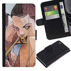 Be-Star la tarjeta de Crédito Slots PU Funda de cuero Monedero caso cubierta de piel Para Apple Iphone 4 / 4S ( Street Art Drawing Wall Lesbian Woman )