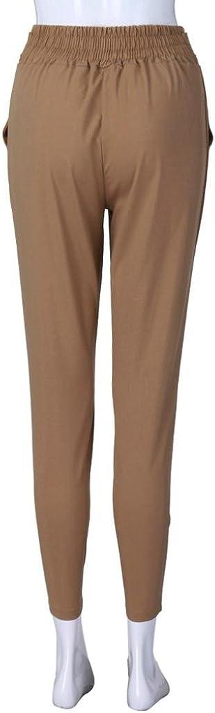 SOMESUN Pantaloni Casual a Vita Alta con Elastico in da Donna Fasciatura Cinghie Tinta Unita Larghi Taglie Forti Eleganti Leggeri Corti Bianchi Strappato Slim Fit Skinny Elasticizzati