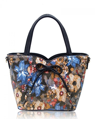 Bags Black Handbags Print Medium Women's 32 Tote Flower Leather Bow Grab LeahWard Shoulder Faux With wxf1qXXn07