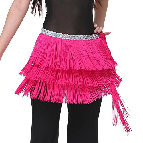 Pilot-trade Lady's Belly Dance Costume Hip Scarf Belt Tribal Fringe Tassel wrap Belt Dark Pink (Dark Dance Costumes)