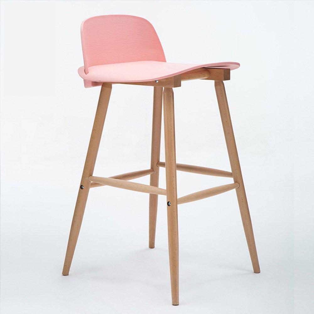 FEIFEI バースツールソリッドウッド+ PP素材モダンフロントチェア椅子家庭用ハイスツール ( 色 : ピンク ぴんく , サイズ さいず : A ) B07BDCHSWT A ピンク ぴんく ピンク ぴんく A