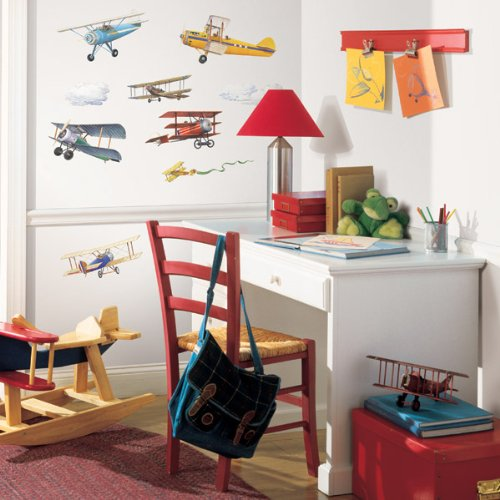 RoomMates RMK1197SCS Vintage Planes Peel & Stick Wall Decals, 22 Count Airplane Room Decor