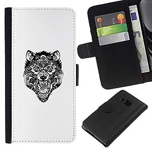 LECELL--Cuero de la tarjeta la carpeta del tirón Smartphone Slots Protección Holder For HTC One M7 -- Lobo tribal loco --