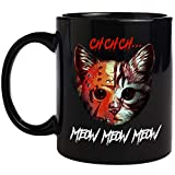 PerfectoStore Ch Ch Ch Meow Meow Meow Halloween Cup 11 oz. Black Coffee Mug - Great Gifts for Fans who Love Halloween Cats - I Was Normal Three Cats Ago