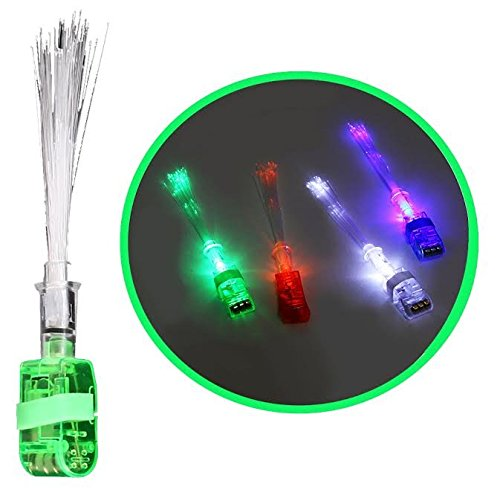 Dazzling Toys LED Optical Fiber Finger Lights, 12 Pieces Per Pack. Red, Green, White and Blue. -
