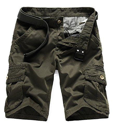 Waist Canvas Elastic Shorts (BATUOS Mens Baggy Canvas Rugged Cotton Twill Cargo Short Utility Work Shorts Military Pants)