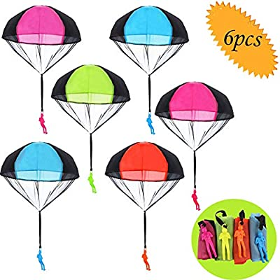 Grocery House Parachute Toy, 6pcs Hand Throw Parachute Tangle Free Throwing Toy Parachute for Kids Creative Multi-Color Toy Parachute Man Toy for Boys and Girls, Children and Adults Outdoor Toys: Toys & Games