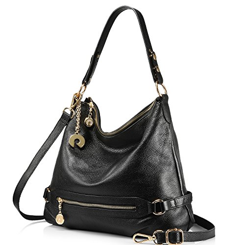 Genuine Leather Handbags for Women Large Designer Ladies Shoulder Bag Bucket Style [ Black ]