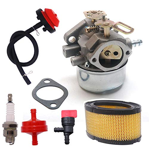 (Atoparts 640052 Carburetor + 33268 Air Filter Tune Up Kit for Tecumseh 640349 640054 8HP 9HP 10HP HMSK80 HMSK90 HMSK100 HMSK105 HMSK110 LH318SA LH358SA Snowblower )