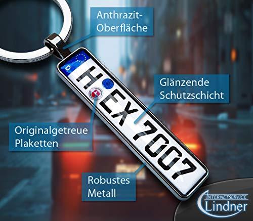 Internetservice Timo Lindner Personalisierter Kennzeichen-Schlüsselanhänger in Anthrazit Nummernschild Autokennzeichen…