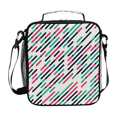 Lunch Box Bag Insulated Lunch Tote Parallel Diagonal Red Green Thermal Cooler Shoulder Strap Portable Food Container Travel Office School Picnic For Women