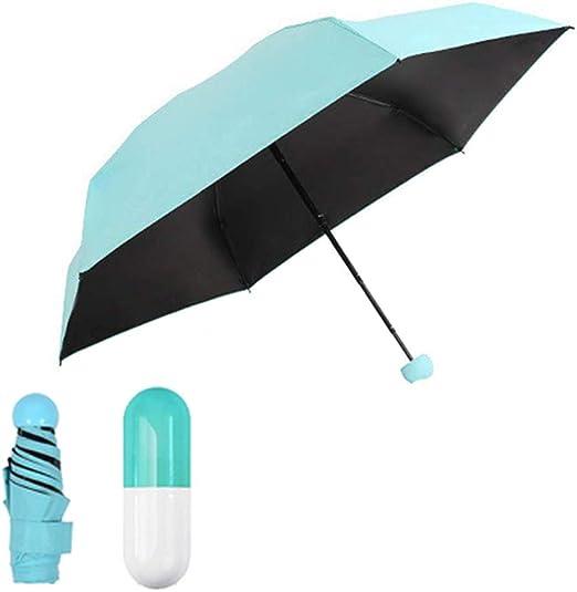 DGSFES ¡Paraguas UV Ultra liviano con sombrilla Mini 210T con Caja de cápsulas, sombrilla Plegable