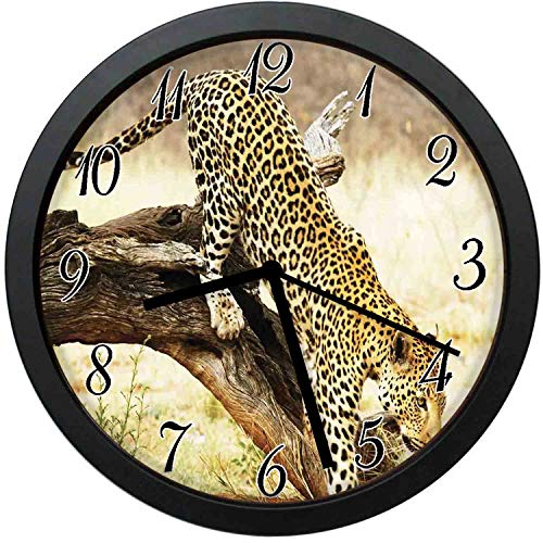FangZhuruiw Leopard On Tree Trunk Desert Plants Exotic Hunter Predator Big Cat-Stylish Modern Round Wall Clock -10 inch,Quiet and Non-Ticking,Used to Decorate bedrooms,Offices,Kitchens,etc.