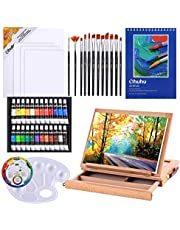 Acrylic Painting Set, 44pcs Ohuhu Artist Set with Wood Table-Top Easel Box, Art Painting Brushes, Acrylic Paint Tubes, and Acrylic Painting Pads for Artist Students, Back to School Art Gift Choice