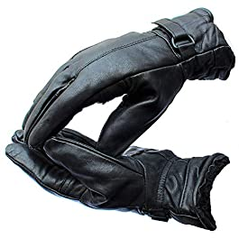 Krystle Warm Black 1 Pair Leather Snow Proof Winter Gloves for Men Boy Women Girls Ladies Protective Warm Hand Riding…
