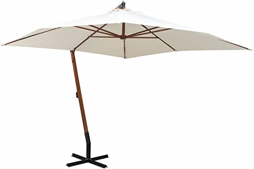 Shengfeng Sombrilla Colgar 300 x 300 cm Poste de Madera Bianco. Vela Parasol Paraguas Parasol Cortinas Parasol Parasol Plegable Separador Exterior jardín: Amazon.es: Jardín