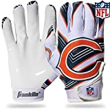 Franklin Sports Chicago Bears Youth NFL Football Receiver Gloves – Receiver Gloves For Kids – NFL Team Logos and Silicone Palm – Youth M/L Pair