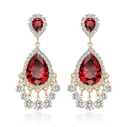(Lianjie Rhinestone Crystal Drop Earrings for Women Girls Teardrop Dangle Fashion Silver/Gold Plated Earrings Party Wedding Bride Prom Gift for Her)