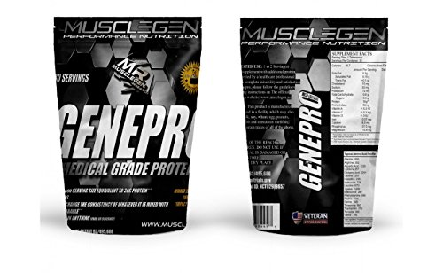 GENEPRO by Musclegen Research Organic Non GMO Protein Powder Flavorless Protein Powder FOD Map Certified Gluten Free, Low Calorie, Sugar Free Protein Powder