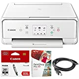 Canon PIXMA TS6120 Wireless All-in-One Compact Printer with Scanner & Copier White (2229C022) Black Printer Ink, Corel Paint Shop Pro X9 Digital Download & High Speed 6-foot USB Printer Cable