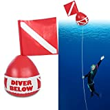 PVC Scuba Diving Surface Marker, Inflatable Signal Spearfishing Float Dive Bouy Ball with Flag