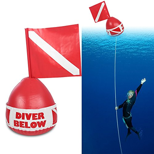 PVC Scuba Diving Surface Marker, Inflatable Signal Spearfishing Float Dive Bouy Ball with (Signal Flag Hook)