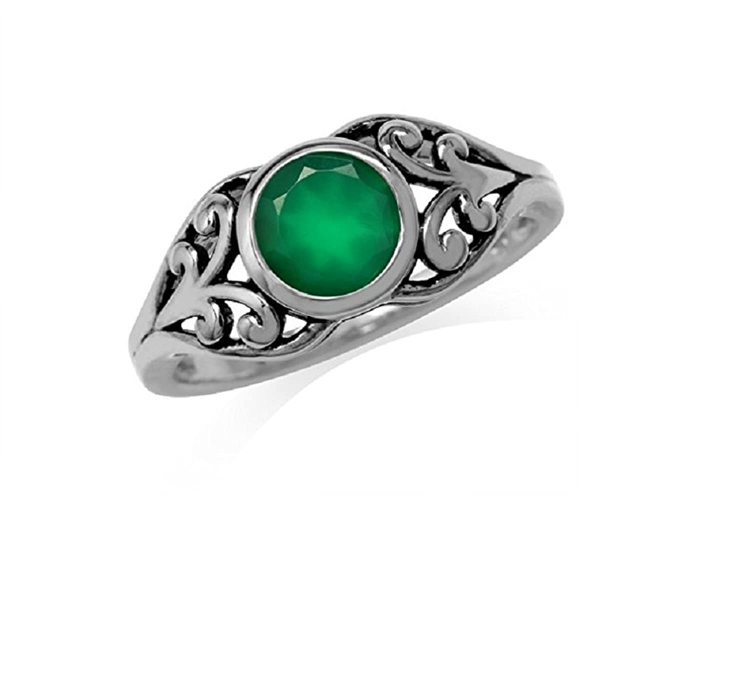 1.16ct. Natural Emerald Green Agate 925 Sterling Silver Filigree Solitaire Ring