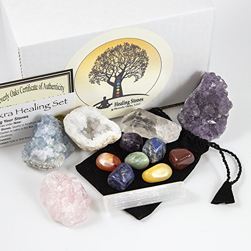 13 pcs Chakra Crystal Sampler Set ~ LARGE Healing Kit: 6 Minerals-Amethyst Cluster, Raw Rose Quartz, Crystal Point, Selenite Blue Celestite and Half Geode + Plus 1 Bag of 7 Chakra tumbled Stone (Blue Quartz Crystal)
