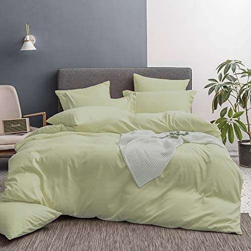Merryfeel Duvet Cover Set,Ultra Soft Brushed Microfiber Hotel Collection 3 Pieces Bedding Set-Comforter Cover with 2 Pillow Shams, Olive Green - King