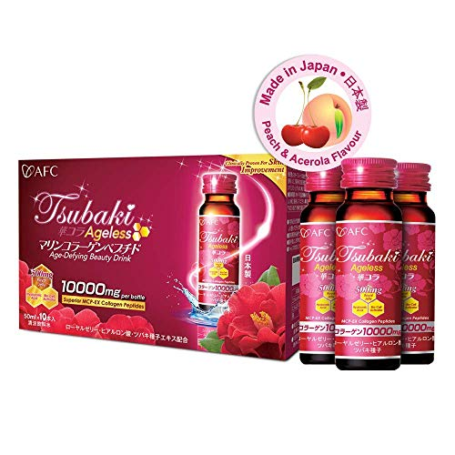 AFC Japan Tsubaki Ageless Beauty Collagen Drink from Japan with 10,000mg Marine Collagen Peptides + 500mg Royal Jelly + Hyaluronic Acid + Vitamin Bs  C for Skin Revitalization (1.69fl.ozx10 Bottles) reviews