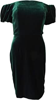 product image for Betsy & Adam Womens Velvet Off-The-Shoulder Cocktail Dress Green 8